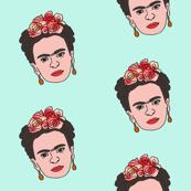frida fabric - feminist artist fabric, mexican artist fabric, frida unibrow -mint