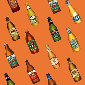 beer - australian beer fabric, beer fabric, vb, emu bitter, xxxx gold, beer bottles - orange