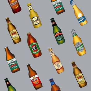 beer - australian beer fabric, beer fabric, vb, emu bitter, xxxx gold, beer bottles - grey