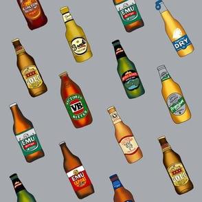 beer - australian beer fabric, beer fabric, vb, emu bitter, xxxx gold, beer bottles - grey