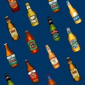 beer - australian beer fabric, beer fabric, vb, emu bitter, xxxx gold, beer bottles - navy
