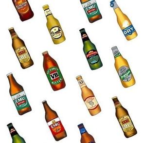 beer - australian beer fabric, beer fabric, vb, emu bitter, xxxx gold, beer bottles - white