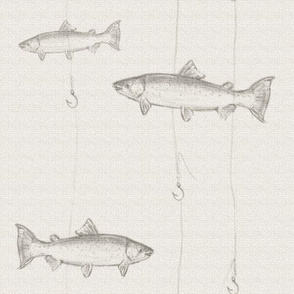 Steelhead Trout Sketch on Cream Burlap