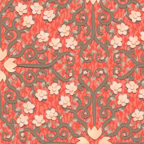 Coral and Gray Buttercup Flower Damask