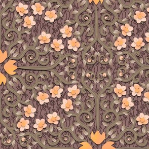 Peach and Gray Buttercup Flower Damask