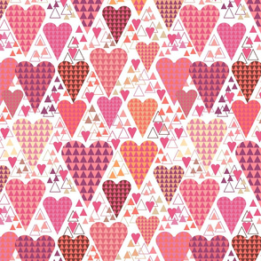 Hearts and Triangles, Large, White