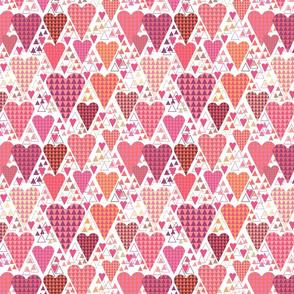 Hearts and Triangles, Medium, White