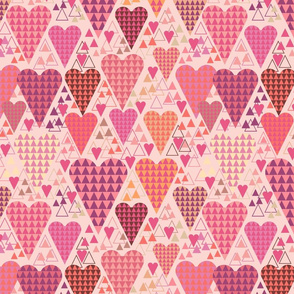 Hearts and Triangles, Large, Pink