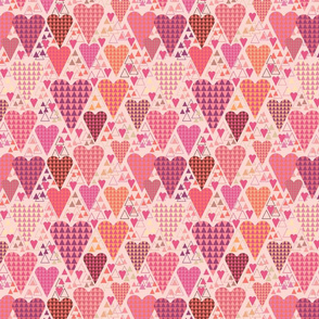 Hearts and Triangles, Medium, Pink