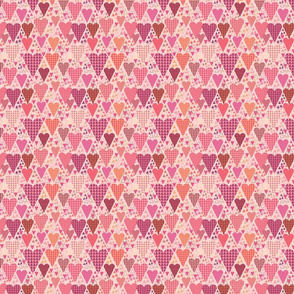 Hearts and Triangles, Small, Pink