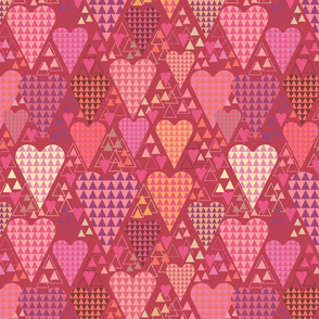 Hearts and Triangles, Large, Berry