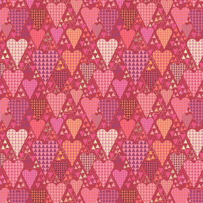 Hearts and Triangles, Medium, Berry