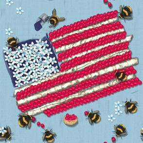 Widdle Bitty Bees//Patriotic Flag//Light Blue