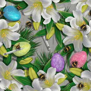 Widdle Bitty Bees//Easter Lily Eggs Crayons//Grey