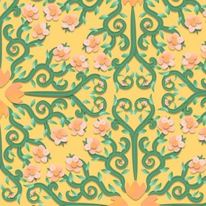 Peach and Green Buttercup Flower Damask