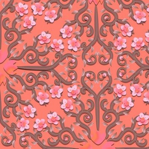 Coral Buttercup Flower Damask