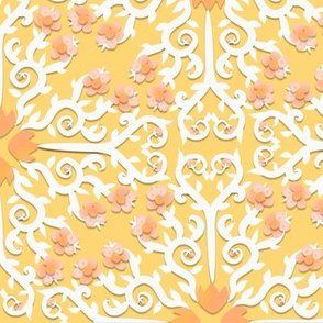 Peach and Whtie Buttercup Flower Damask