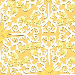 Yellow and White Buttercup Flower Damask