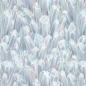 Large Clear White Quartz Crystal Field