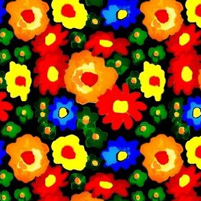 Mille Fiori/Flower Painted blooms on black