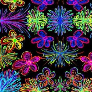 Colourful Boho Posies on Black - Large Scale
