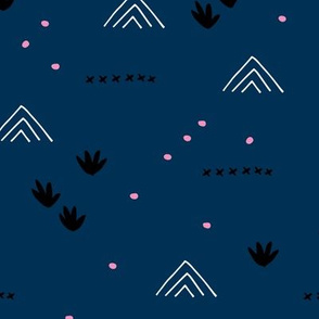 Paper cut and mudcloth minimal abstract design ethnic boho winter navy blue