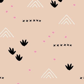 Paper cut and mudcloth minimal abstract design ethnic boho summer beige black pink girls