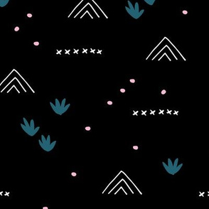 Paper cut and mudcloth minimal abstract design ethnic boho winter black blue pink girls