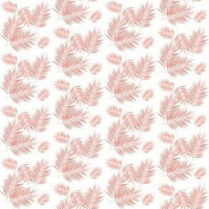 palm leaf - coral on white small scale