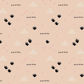 Paper cut and mudcloth minimal abstract design ethnic boho summer beige black pink girls SMALL