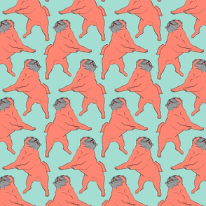 Mod LCP dancing Pugs - Coral and Mint