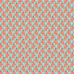 Small Mod LCP dancing Pugs - Coral and Mint
