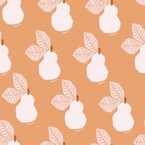 Linocut Pear | Peach + Pink
