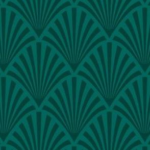 Art Deco Fans, Dark Green