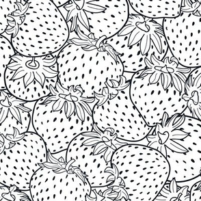 Black and white strawberries texture