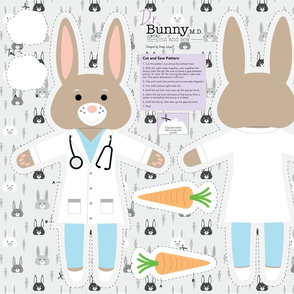 Dr. Bunny M.D. Cut and Sew Plushie Pillow
