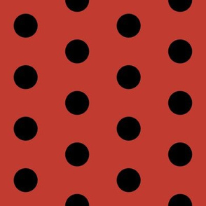 red and black dots - black dots on red, red dots fabric, dots fabric, black dots fabric red and black
