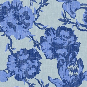 big tropical florals in periwinkle