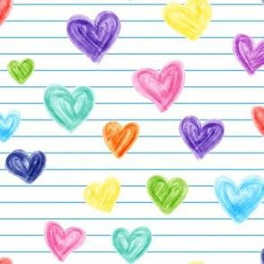 marker hearts - skinny blue stripes - lad19