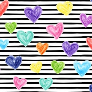 marker hearts - black stripes - lad19