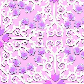 Pink and Purple Buttercup Flower Damask
