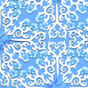 Blue and White Buttercup Flower Damask