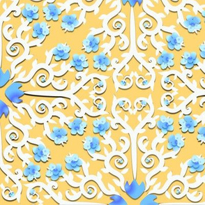 Blue and White Buttercup Flower Damask on Yellow