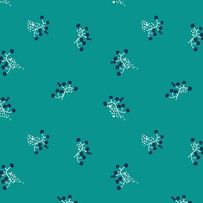 Berries - Teal with Navy