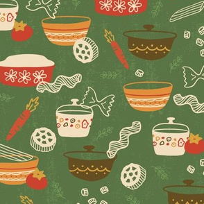 Vintage Pasta Party On Green