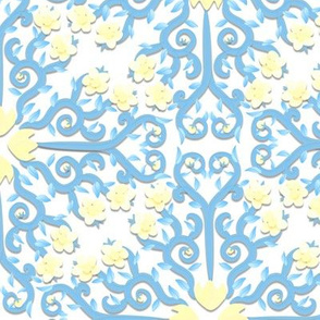 Blue Eggshell and White Buttercup Flower Damask