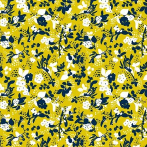 Floral - Mustard with Navy and White