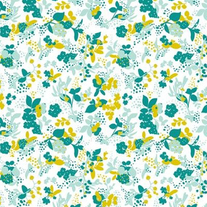 Floral - White with Teal, Mint, and Mustard
