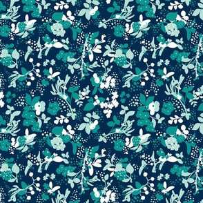 Floral - Navy with Teal, Mint, and White