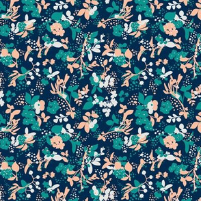 Floral - Navy with Teal, Blush, and White